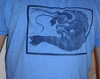 Raccoon Shrimp Blue T-shirt