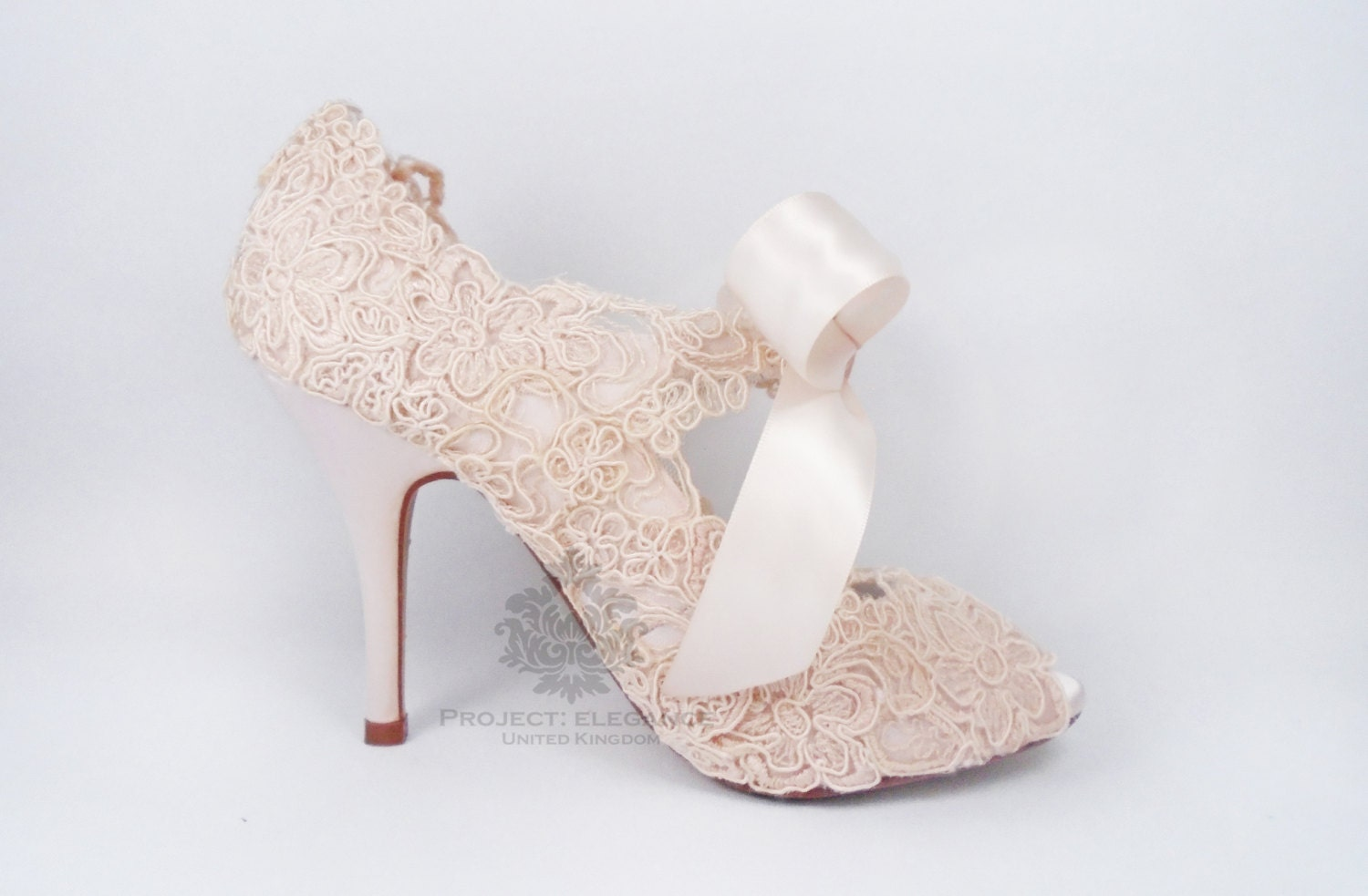 Blush Pink wedding shoes, blush wedding shoes, lace wedding shoes ...