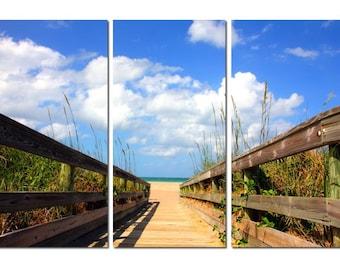 Florida Beach Boardwalk Canvas Triptych, 3 Panel Fine Art, LARGE, Ready to Hang
