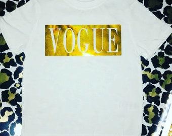 Vogue Inspired Gold Childrens Tshirt