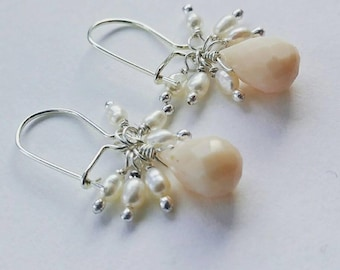 Sterling Silver 925 Pink Opal Briolette and White Seed Pearl Cluster Earrings - Gorgeous, Petite, Classic