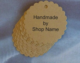 50 circle tags free US shipping scallop tags kraft tags w twine personalized tags gift tags price tags product tags etsy seller supplies