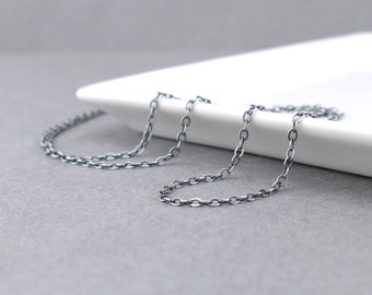 Sterling Silver Chain 1.9mm Flat Cable Oxidized Necklace Chain Light Weight Silver Chain Interchangeable for Add On Pendants and Charms