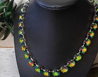12mm Vitrail Medium Swarovski Crystal Tennis Necklace in a Rhodium Plated Setting