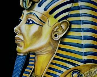 SOLD!! TutAnkhAmun Canvas Wall Art Egypt Dynasty King Portrait Original Acrylic