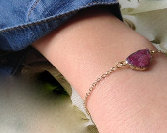 Rough Raw Ruby Gemstone Gold Bracelet