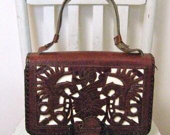 Handbag Kahlo Era 40s 50s Mexican Tooled Leather Aztec Art Deco