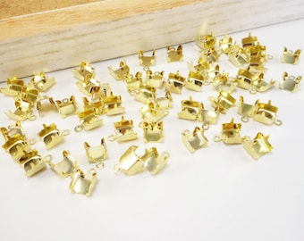 Gold Rhinestone Chain Cup Connectors, Crimp Connector, Jewelry Findings, 6mm