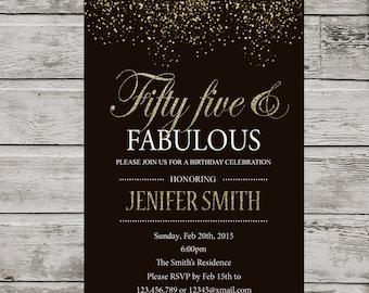 55th birthday invitation for women, PRINTABLE Fifty Five Birthday Invite, Silver Glitter 55th invitation.  Fifty five and fabulous invite