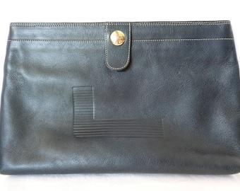 VJ472 :Lancel  Handbag,Vintage LANCEL PARIS indigo blue Leather Clutch bag Pre-owned, made in Italy