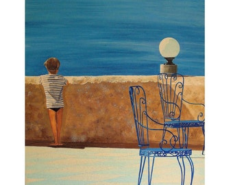 Mediterranean Dream, Blue Sea, View from Terrace, Blue Chairs,Little Boy,Original Illustration Artist Print Wall Art, Free Shipping in USA.