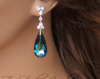 Peacock Blue Chandelier Bridal Bridesmaid Earrings Crystal Teardrop Silver Rhinestone- MARISSA Earings