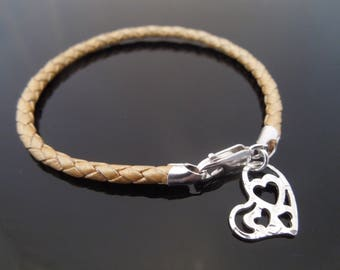 3mm Gold Braided Leather Bracelet With 925 Sterling Silver Hammered Heart Charm