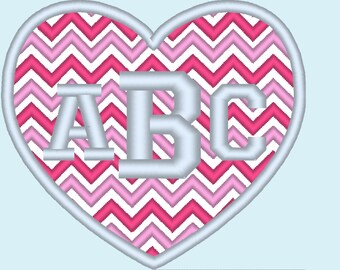 Heart Chevron monogram BX also ALL other (.pes .hus .dst .vp3 .vip .xxx .exp . jef)  - embroidery appliqué monogram embroidery design