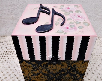 Musical Storage, CD Wood Box, Hand Painted with Cottage Shabby Roses, Wood Musical Notes, Gift Collectible, ECS
