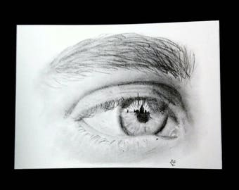 Hand Drawn Eye Print, Graphite Pencil