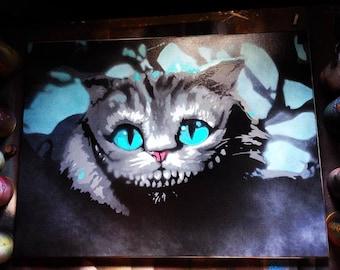 Cheshire Cat Spray Paint Art on Canvas, Alice in Wonderland, Tim Burton