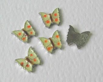 5 Vintage Guilloche Enamel Butterfly Findings