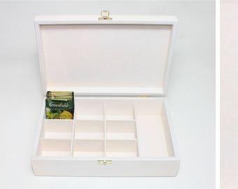 10 Compartments Wooden Tea Box / White Box / Wooden Keepsake Box / Jewelry Box / Collection Box / Personalized Box Option / Plywood Box