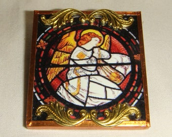 Stained Glass Angel Pin Brooch inv1944