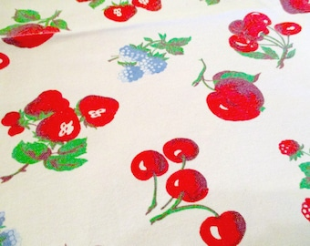 """Wilendur TableCloth 52"""" x 46""""  Red Fruits Cherry, Strawberry, Apple, Berries 1950s"""