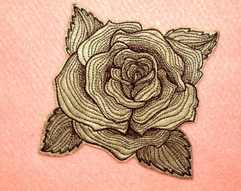 """Cowhide Leather Engraved Rose Iron on Patch 4"""""""