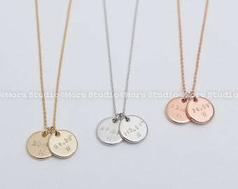 Coordinates Disc Necklace/ Custom Latitude & Longitude Disc Tags, Personalized Disk Necklace, Hand Stamped, Location Necklace Moru NCR102