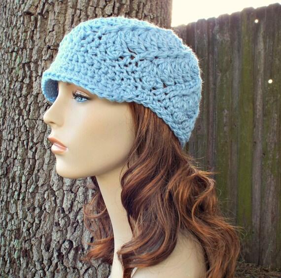 Baby Denim Blue Newsboy Hat Blue Crochet Hat Blue Womens Hat - Pippa Swirl Crochet Newsboy Hat - Blue Hat Blue Beanie Womens Accessories