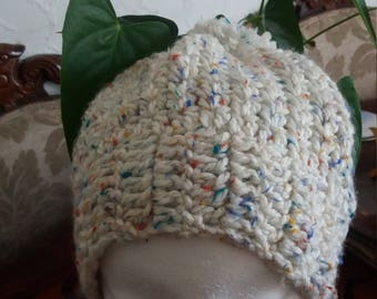 Cream Crochet Beanie Hat,  Beanie Hat, Winter hat multi colour