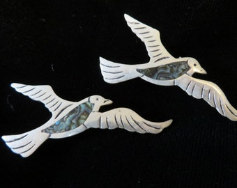 """Set of Sterling Silver PINS BIRDS with Abalone Centers  //  2"""" Wide  //  Turn/Locking Clasps on Back  // Pin Set Silver"""