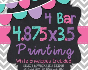 "4 Bar Printed Cards 4.875"" x 3.5"""