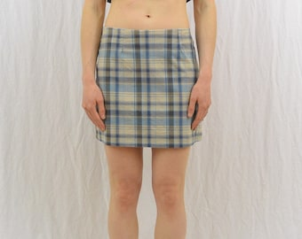 Vintage Plaid Mini Skirt, Size Small, Clueless, Summer Skirt, Blue, 90's Clothing, Punk, Riot Girl