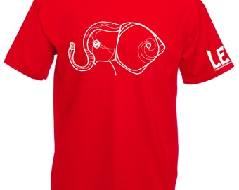 Elephant tshirt, red elephant t shirt. Cute baby animal with peanut tee shirts for guys. Save the animals tees. Shirt for men, boys, dudes