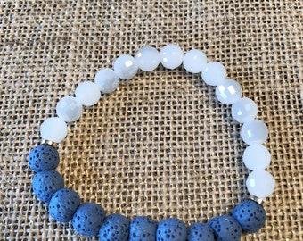 Blue Lava Rock Beads - White Glass Beaded Bracelet
