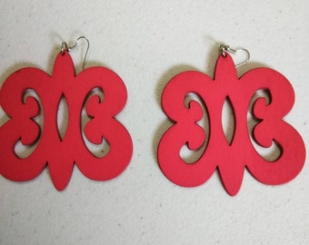 Red fire engine Adinkra African Wooden Earrings Wholesale/ Earrings/ Hand Made Earrings/Women's Earrings/ Afrocentric Earrings