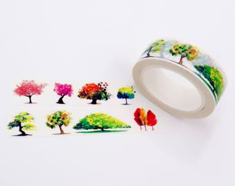 Trees Washi Tape, Tree Washi Tape, Colourful Tree Design Tape, Colorful Trees Washi Tape, Forest Washi, Planner Stickers, Floral Stationery