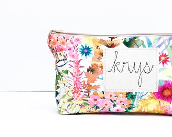 Cosmetic Bag, Best Friend Gift, Personalized Makeup Bag, Make up Bag, Birthday Gift for Her, Floral Makeup Organizer, Gifts for Friends