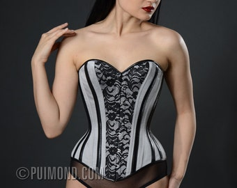 PUIMOND PY04 Pewter Satin Leather & Lace Victorian Corset Size 21 NEW In-Stock