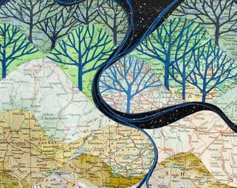 LARGE The Rivers Know art print, map collage of mountains, rivers and starry sky