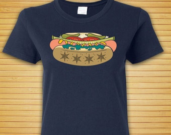 Chicago Style Hot Dog Tee - Womens Sizes - Navy Blue Cotton Chicago Flag Stars Illustration T Shirt  by OMSP