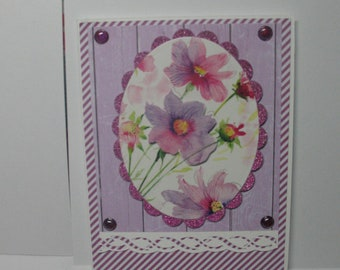 Sale - Pretty Purple Flowered Mother's Day Card