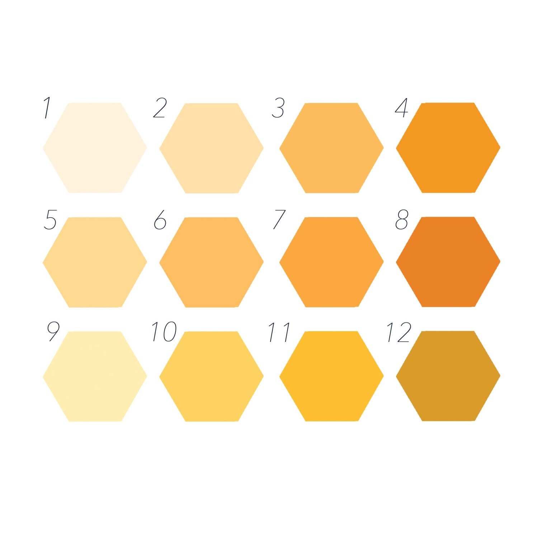 Orange Colour Chart Custom Wall Art Removable Hexagon