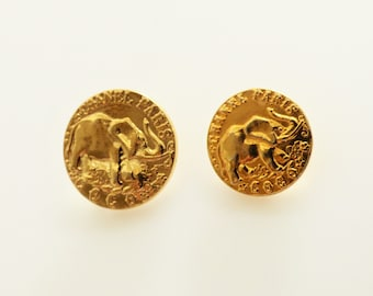 Chanel Paris Vintage Gold Elephant Stamped Button 18mm, 22mm  / Price is for one button