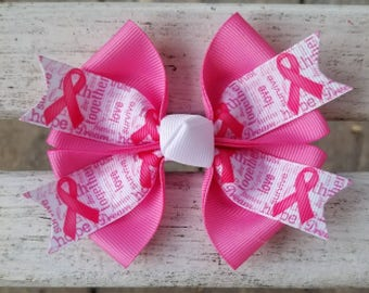 Breast Cancer Awareness Hair Bow (4 inch)