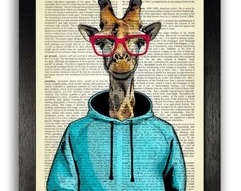 Giraffe in Blue Hoodie with Red Glasses Dictionary Art Print, Giraffe Wall Decor Poster Art, Funny Giraffe Artwork, Funny Gift for Boyfriend