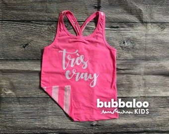 """Little Girls """"Tres Cray"""" Hot Pink Tank Top"""