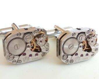 Watch Cufflinks, Watch Movement Cufflinks, Steampunk Cufflinks, Old Watch Cufflinks, Clock Cufflinks, Gift for Groom, Gift for Him
