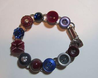 Button Bracelet - Blue and Burgundy