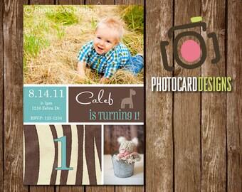 Zebra Birthday Photo Invitation Card | Blue | 1st | First | Gallery | animal | Digital | DIY | Print file | invite | Print option available