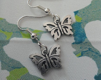 Butterfly earrings / novelty earrings / charm earrings / silver butterfly earrings / dainty earrings / summer earrings / animal earrings /
